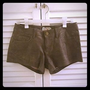 Current Elliot 100% lamb leather boyfriend shorts